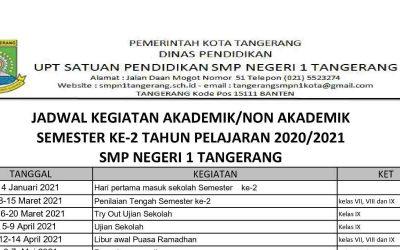 Jadwal Kegiatan Akademik / Non Akademik Semester Ke-2 Tahun Pelajaran 2020 / 2021 SMP NEGERI 1 TANGERANG